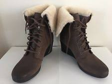 s ugg australia brown zea boots ugg australia wedge lace up solid boots for ebay