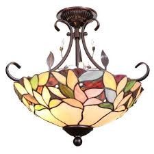 Home Depot Interior Light Fixtures Dale Tiffany Crystal Leaf 2 Light Antique Bronze Semi Flush Mount