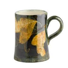handmade mug foliage hand painted at ralph jandrell pottery