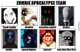 My Zombie Apocalypse Team Meme Creator - who i would want as my zombie apocalypse team by deathface777