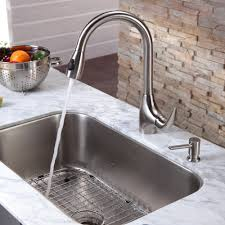 kitchen undermount stainless steel sinks with modern faucet for