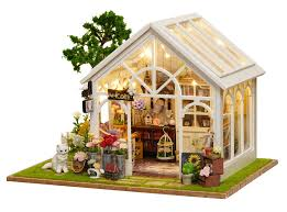 1 24 diy miniature dollhouse kit sunshine greenhouse florist