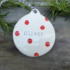 personalised ceramic bauble by gilbert and stone ceramics