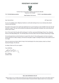 Business Donation Thank You Letter by Fundraising U2013 Ridgeway Academy