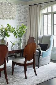 Damask Dining Chair Capiz Flower Drum Pendant With Gray Damask Rug Contemporary