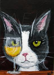 Wino To Decorate Our Home Silent Mylo Tuxedo Cat With White Wine Art Print Funny Cat