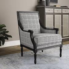 josiah plaid black modern classic armchair kathy kuo home