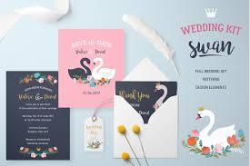 swan wedding wedding set with swan lake theme invitation templates creative