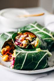 barbecue chickpea collard wraps with hemp ranch dressing making