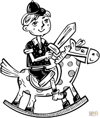 little boy playing on his rocking horse coloring page free