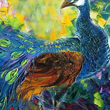 abstract animal oil painting colorful peacock oil painting