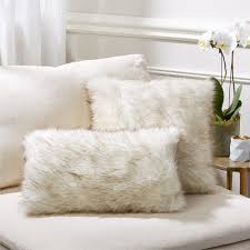 White Throw Pillows Bed Candelabra Home White Lynx Faux Fur Pillows Candelabra Inc