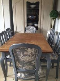 french blue shabby chic dining table and chairs toile fabric in