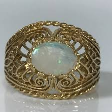 opal october vintage opal ring oval white opal in 14k yellow gold filigree