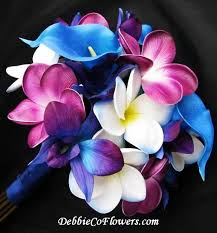 purple and blue wedding real touch bouquet blue purple orchid calla rtbdendorchcallafran