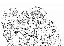 digimons team coloring page for kids manga anime coloring pages