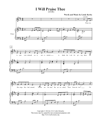 thanksgiving piano sheet music i will praise thee