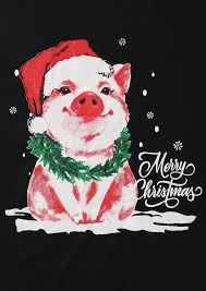 christmas pig christmas pig hat snowflake o neck t shirt bellelily