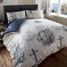 Nautical Bed Set Vintage Voyage Duvet Cover Reversible Nautical Bedding Set