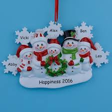 wholesale snowman family of 5 resin tree ornaments for