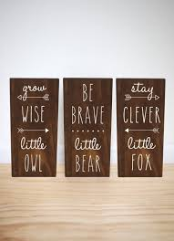 woodland animals nursery signs set of 3 stay clever by handygerl