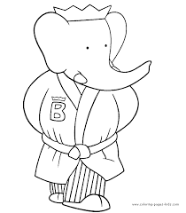 babar color cartoon color pages printable cartoon