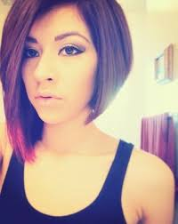 stacked hair longer sides uneven a line bob with one side slightly longer and colored hair