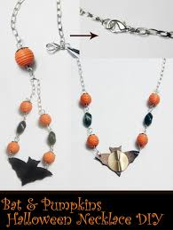 bat and pumpkins halloween necklace tutorial jewels of sayuri