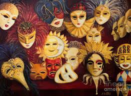 venetian masks venetian masks painting by kiril stanchev