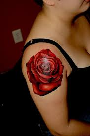 realistic red rose tattoo on right shoulder
