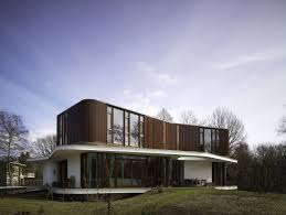 architecture retro futuristic house design alongside curve shape