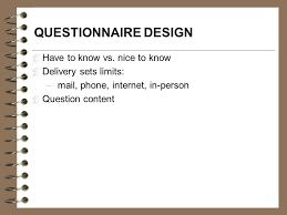 questionnaire design research measurement and questionnaire design ppt