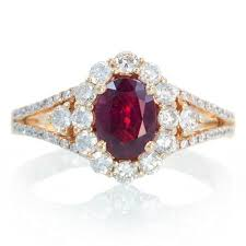 Ruby Wedding Rings by 18k Ruby Engagement Ring Set In Rose Gold Ruby Halo Diamond