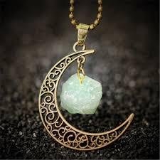 natural stone necklace pendant images Vintage moon necklace irregular natural stone pendant antique jpg