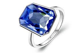 crystal silver rings images Crystal royal blue shiny crystal silver rectangle stone adjustable jpg