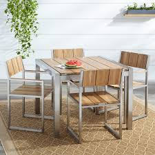 Outdoor Dining Room Macon 5 Piece Square Teak Outdoor Dining Table Set Natural Teak