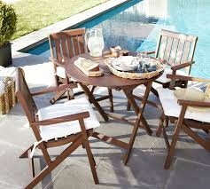 Patio Table And Chair Sets Chatham Round Folding Bistro Table U0026 Armchair Set Dark Honey