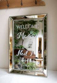 elegant mirror framed mirror custom painted as a wedding welcome
