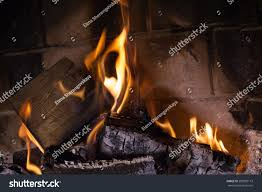 fireplace burning flames fireplace sparks prepare stock photo