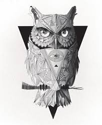 two geometric low poly black and white owls on behance