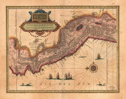 Map Of The Red Sea Peru 1640 With Green And Red Sea Monsters Patrolling The Pacific