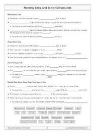 naming ions and ionic compounds worksheet by good science worksheets