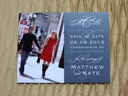 custom save the dates gray navy custom photo save the dates emdotzee designs