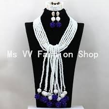 long necklace sets images 2018 luxury white royal blue long necklace set crystal balls jpg