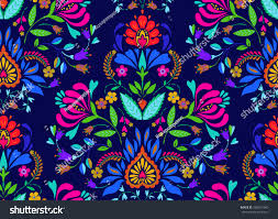seamless floral folk pattern slavic european stock vector