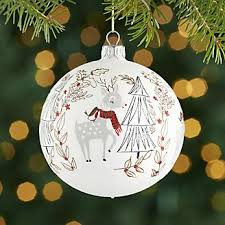 Ceramic Reindeer Christmas Decorations by Red And Green Christmas Ornaments Crate And Barrel