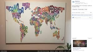Decorative World Map World U2013 Words U2013 Printed In A Urban Watercolour Mapstudio