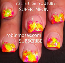 nail art design diy easy neon french manicure nails tutorial