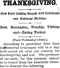 Purpose Of Thanksgiving Day Thanksgiving Day In Early Fort Collins Forgotten Fort Collins