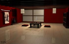 japanese living room spacious janpanese living room design with red wall and samurai